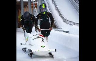 Nimroy Turgott (left) and Shanwayne Stephens on the bobsleigh track.