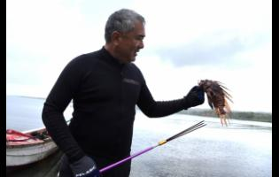 James Chen shows off one the many lionfish he caught during a trip to St Thomas.